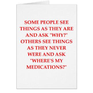 Cartão piada louca do psiquiatra