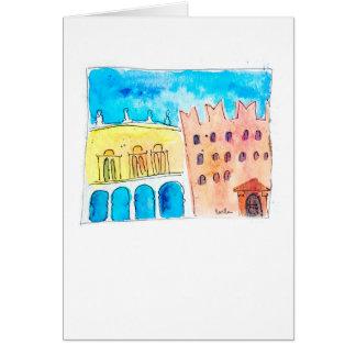 Cartão Piazza dei Signori - aguarela