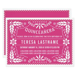 Cartão Picado cor-de-rosa do papel de Quinceañera
