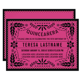 Cartão Picado preto cor-de-rosa do papel de Quinceañera
