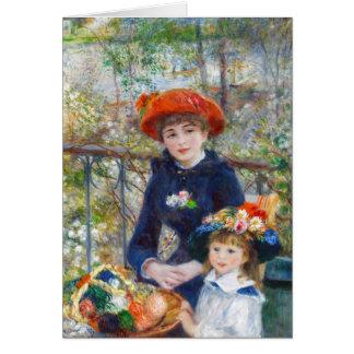 Cartão Pierre-Auguste Renoir duas irmãs na nota do