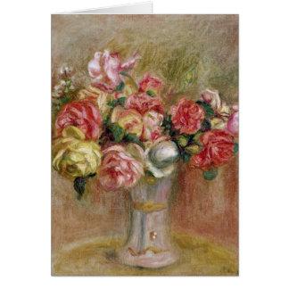 Cartão Pierre rosas de Renoir um   em um vaso de Sevres