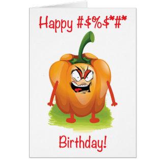 Cartão Pimenta irritada Arnold do feliz aniversario