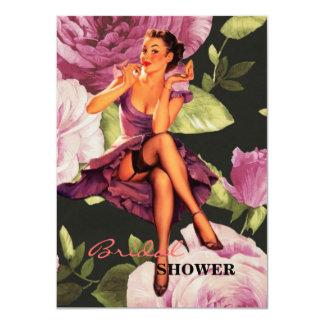 Cartão Pin botânico do rosa do roxo de Paris do victorian