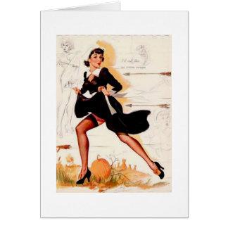 Cartão Pin da menina do quacre da acção de graças acima