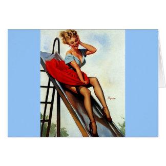 Cartão Pin retro da corrediça do divertimento de Gil