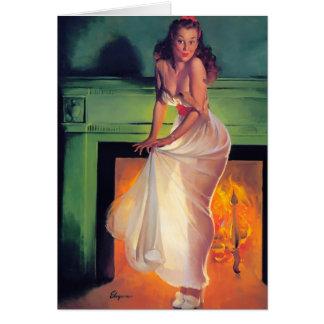Cartão Pin retro de Gil Elvgren do vintage acima da