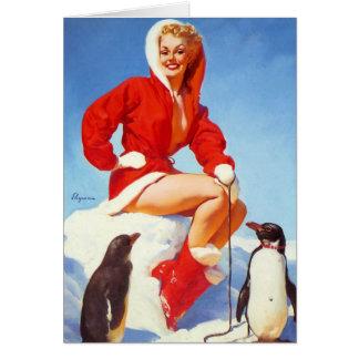 Cartão Pin retro do Natal de Gil Elvgren do vintage ACIMA