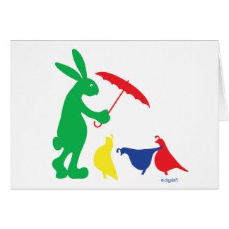 Cartão Pingos de chuva - coelho e amigos