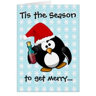 Cartão Pinguim bêbedo