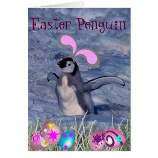 Cartão Pinguim da páscoa