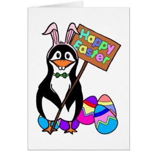 Cartão Pinguim da páscoa com ovos coloridos