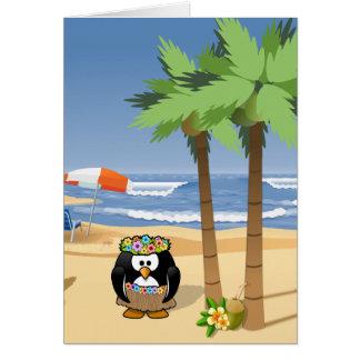 Cartão Pinguim de Hula na ilustração dos desenhos