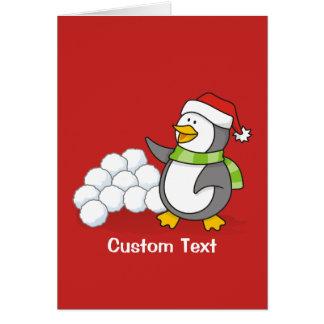 Cartão Pinguim do Natal com ondulação das bolas da neve