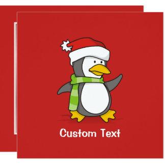 Cartão Pinguim do Natal que anda na neve
