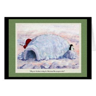 Cartão Pinguim e esquimó