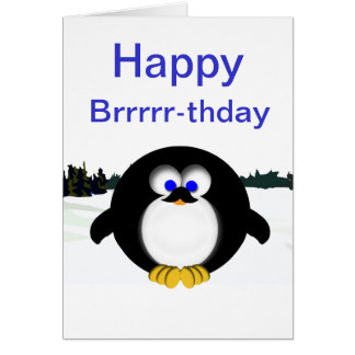Cartão Pinguim feliz