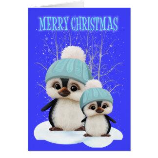 Cartão Pinguins bonitos do Natal de Little Boy