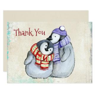 Cartão Pinguins bonitos no obrigado dos Scarves e dos