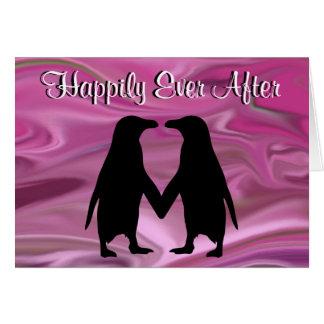 Cartão Pinguins bonitos que guardaram as mãos