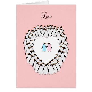 Cartão Pinguins coloridos Pastel no coração