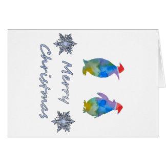 Cartão Pinguins do Natal