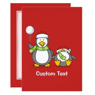 Cartão Pinguins Snowballing do Natal