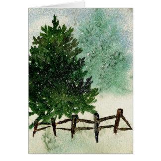 Cartão Pinheiro nevado