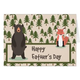 Cartão Pinheiros urso e Fox do dia dos pais
