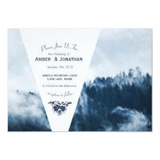 Cartão Pinhos de montanha do inverno que Wedding o
