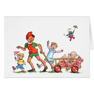 """Cartão """"Pinocchio do bebê com big brother & irmã """""""