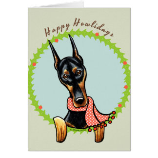 Cartão Pinscher Howlidays feliz do Doberman