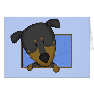 Cartão Pinscher quadro do Doberman dos desenhos animados