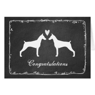 Cartão Pinschers do Doberman que Wedding parabéns