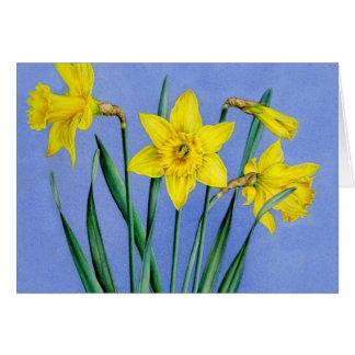 Cartão Cartão pintado amarelo da arte dos Daffodils da