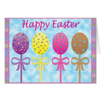 Cartão pintado colorido da páscoa dos ovos