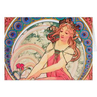"""Cartão """"Pintando"""" (detalhe) por Alphonse Mucha, 1898"""