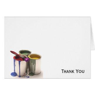 Cartão Pinte latas no amarelo verde vermelho