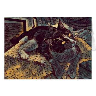 Cartão Pinte o gatinho do efeito
