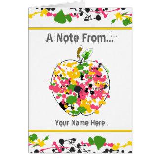 Cartão Pinte o professor Notecard de Apple do Splatter