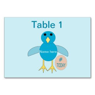 Cartão Pintinho azul feito sob encomenda Tablecard do