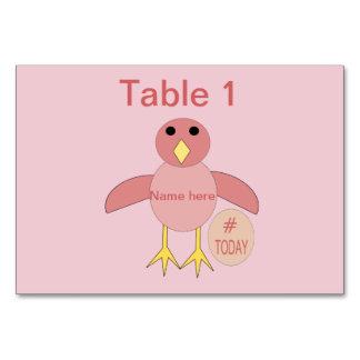 Cartão Pintinho cor-de-rosa feito sob encomenda Tablecard