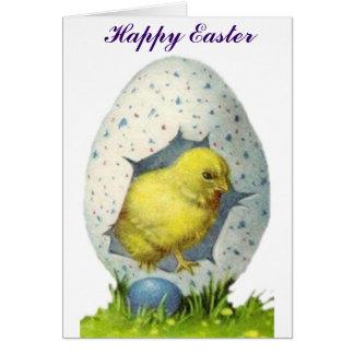 Cartão Pintinho e ovo da páscoa do vintage