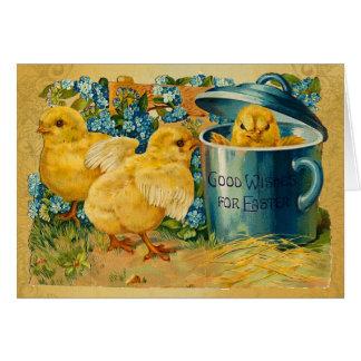 Cartão Pintinhos da páscoa do vintage