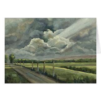 Cartão Pintura a óleo original das nuvens, do Sun, do