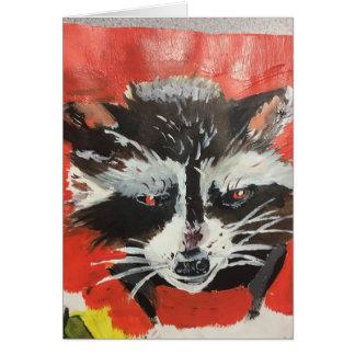 Cartão Pintura artística do Racoon vermelho