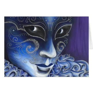 Cartão Pintura azul e de prata da máscara do carnaval do