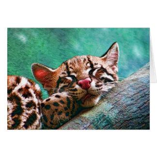 Cartão Pintura bonito do gatinho do Ocelot do bebê do