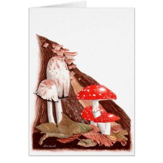 Cartão Pintura botânica: Toadstools do outono