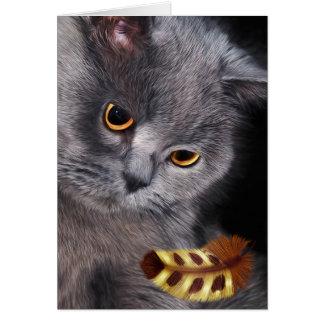 Cartão Pintura britânica do amante do gato do